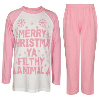 Girls Ya Filthy Animal Print Christmas Pajamas Set