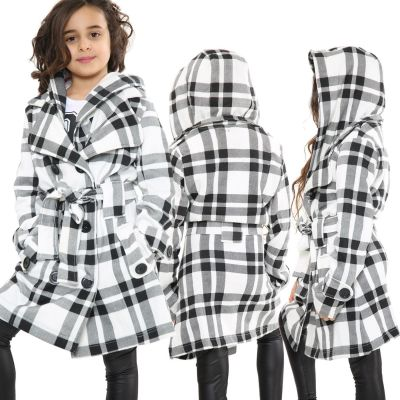 Kids Girls Hooded Trench Coat Fashion Warm Black & White Check Jacket Oversized Lapels Belted Cuffs Long Overcoat.