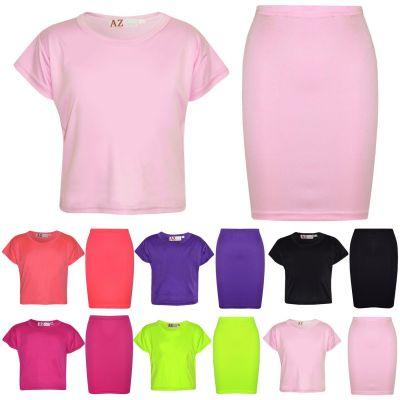 Kids Girls Plain Crop Top & Slim Fit Pencil Skirt Set School Dance Party Fashion