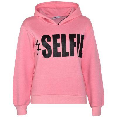 Kids Girls Sweat Shirts Tops Baby Pink #Selfie Hooded Jumpers Hoodies 5-13 Years