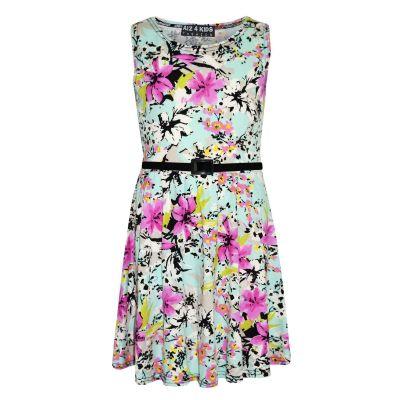 A2Z Trendz Girls Skater Dress Kids Mint Floral Print Summer Party Dresses Age 7 8 9 10 11 12 13 Years