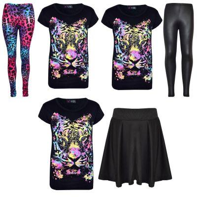 Kids Girls Multi Tiger Print Trendy T Shirt Top & Fashion Legging Set New Age 7 8 9 10 11 12 13 Years