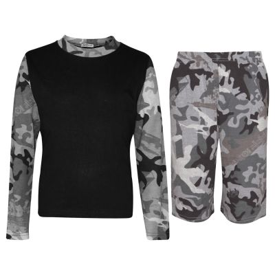 A2Z Trendz Kids Girls Boys Shorts Set Camouflage Charcoal Contrast Color Long Sleeves T Shirt Top & Knee Length Shorts Sleepwear Summer Outfit Sets Nightwear 5 6 7 8 9 10 11 12 13 Years