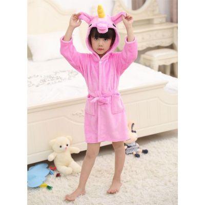 A2Z Trendz Girls Bathrobes Kids 3D Animal Soft Hooded Fleece Unicorn Cosplay Cerise Bathrobe Dressing Gown Night Lounge Wear Age 5-13 Years