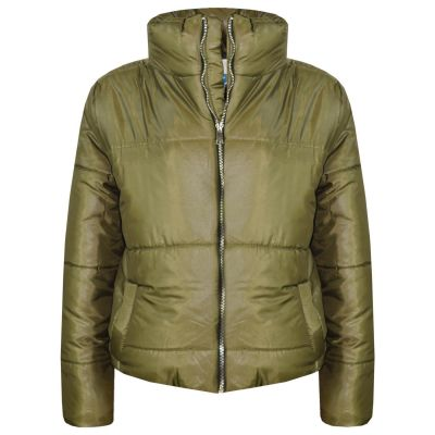 Girls Wet Look Padded Olive Puffer Bubble Jackets