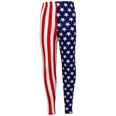 Girls USA Legging Kids Stripes & Stars Print American Leggings New Age 7 8 9 10 11 12 13 Years