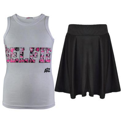 A2Z Trendz Kids Girls Vest & Skirt Sets Designer's Splash Print White Trendy Floss Fashion Vest & Skirts Trendy T Shirt Tops Tees & Bottom Set New Age 5 6 7 8 9 10 11 12 13 Years