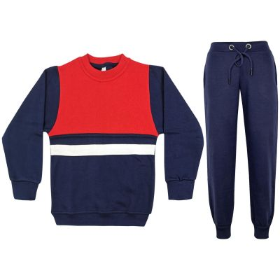 A2Z Trendz Kids Girls Boys Tracksuit Designer's Contrast Panelled Fleece Top & Bottom Navy Workout Running Jogging Suit Sportswear Gymwear Jogger Age 3 4 5 6 7 8 9 10 11 12 13 Years