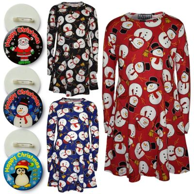 A2Z Trendz Girls Christmas Dress Kids Snowman Print New Xmas Fashion Dresses With A Free Xmas Badge New Age 3 4 5 6 7 8 9 10 11 12 13 Years
