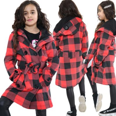 Kids Girls Hooded Trench Coat Fashion Warm Red & Black Check Jacket Oversized Lapels Belted Cuffs Long Overcoat.