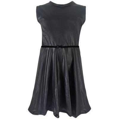 Girls Wet Look Sleeveless Skater Dress