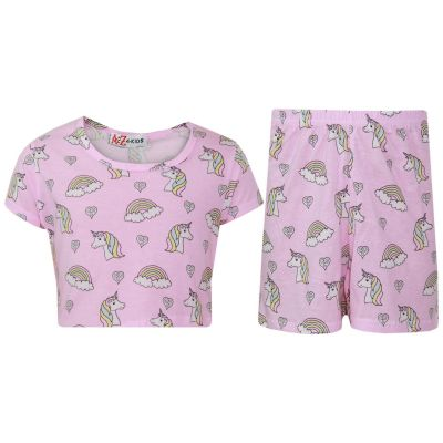 A2Z Trendz Kids Girls Shorts Set 100% Cotton Unicorn Rainbow Trendy Fashion Summer Outfit Top & Short New Age 7 8 9 10 11 12 13 Years