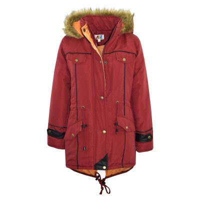Kids Girls Jacket DESIGNER'S Red Parka Coat Faux Fur Hooded Top Christmas Gift New Age 3-13 Years
