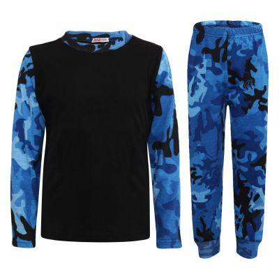 Kids Girls Boys Pyjamas Contrast Camouflage Blue Print Stylish Pajamas Nightwear Pjs.
