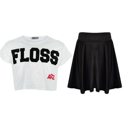 A2Z Trendz Kids Girls Crop Top Designer Floss Print Stylish White T Shirt Top & Fashion Skater Skirt Set New Age 5 6 7 8 9 10 11 12 13 Years