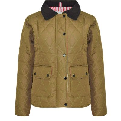 A2Z Trendz Kids Jackets Girls Khaki Designer's Quilted Padded Collar Buttoned Zipped Jacket Warm Thick Coats Age 5 6 7 8 9 10 11 12 13 Years