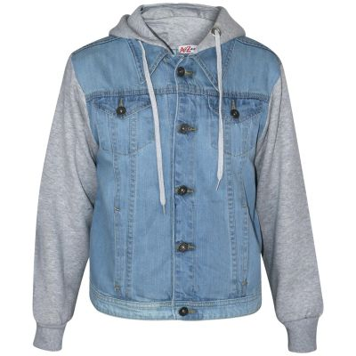 A2Z Trendz Kids Boys Designer Fashion Jeans Jacket Fleece Sleeves & Hood - Boys Denim Jacket JK15 Light Blue 13-14