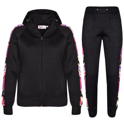 A2Z 4 Kids Kids Girls Boys Tracksuit Designer's Plain Contrast Blue Stripes Fleece Hooded Hoodie Bottom Jogging Suit Joggers Age 5 6 7 8 9 10 11 12 13 Years