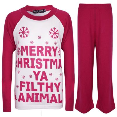 A2Z Trendz Kids Girls PJS Merry Christmas Ya Filthy Animal Print Pink Christmas Pajamas Set Age 2 3 4 5 6 7 8 9 10 11 12 13 Years