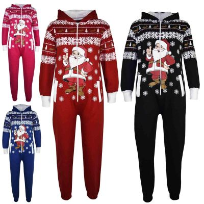 Kids Girls Boys Novelty Christmas Santa Print Fleece Onesie All In One Jumpsuit Costume Age 5-13 Years