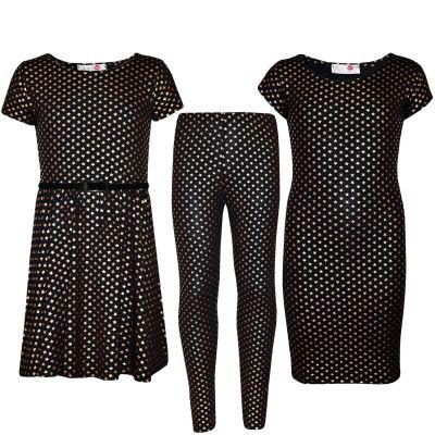 Kids Girls Star Print Midi Dress, Skater Dress & Legging New Age 7 8 9 10 11 12 13 Years