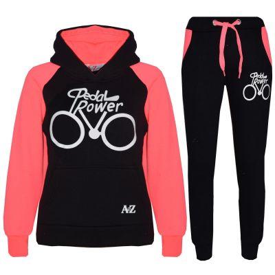 A2Z Trendz Kids Tracksuit Boys Girls Designer's Black & Neon Pink Pedal Power Print Hoodie & Botom Jogging Suit Joggers 5 6 7 8 9 10 11 12 13 Years