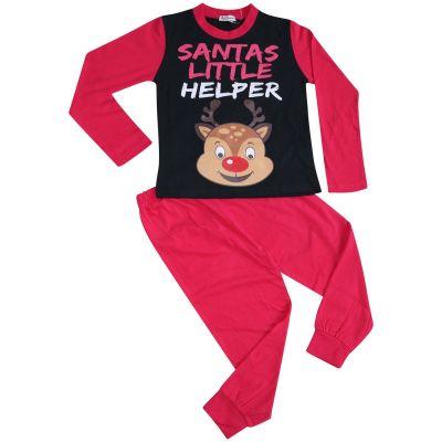 A2Z Trendz Kids Girls Pyjamas Santas Little Helper Reindeer Print Stylish Pink Contrast Sleeves Pajamas Xmas Set New Age 2 3 4 5 6 7 8 9 10 11 12 13 Years