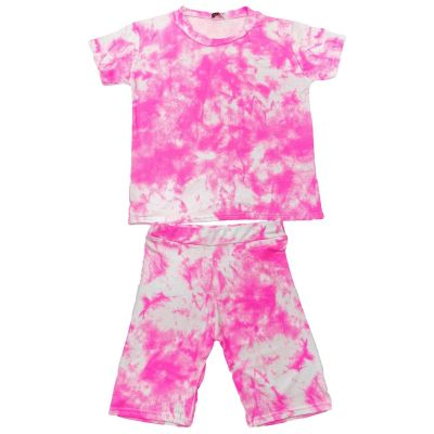 A2Z Trendz Kids Girls Crop Top & Shorts Tie Dye Print Neon Pink Trendy Fashion Summer Outfit Short Sets New Age 7 8 9 10 11 12 13 Years