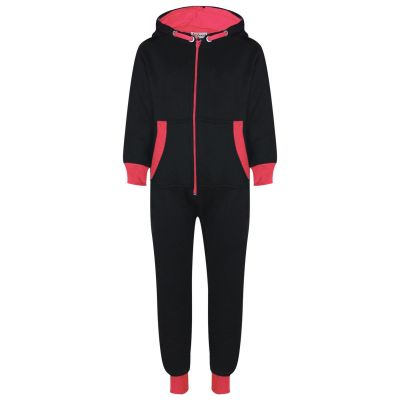 A2Z Trendz Kids Girls Neon Pink Contrast Fleece Onesie All In One Jumsuit Playsuit Nightwear New Age 2 3 4 5 6 7 8 9 10 11 12._13 Years