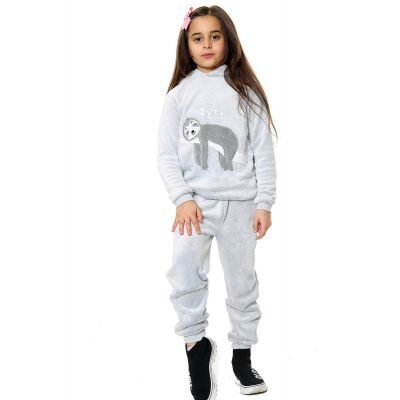Kids Girls Boys Pyjamas Sloth Print Loungewear Flannel Fleece Hooded Nightwear PJS.