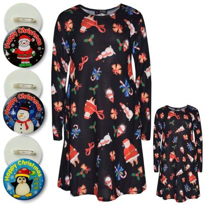 A2Z Trendz Girls Xmas Dress Kids Jingle Bells Santa Claus Snowman Penguin Print Christmass Dresses With A Free Xmas Badge New Age 2 3 4 5 6 7 8 9 10 11 12 13 Years