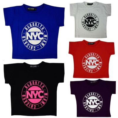 Kids Girls NYC BROOKLALYN MIAMI CHICAGO Print Fashion Crop Top T Shirt Age 7 8 9 10 11 12 13 Years