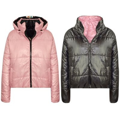 A2Z Trendz Girls Jacket Kids Designer's Baby Pink Reversible Cropped Hooded Padded Quilted Puffer Jackets Warm Thick Coats New Age 5 6 7 8 9 10 11 12 13 Years