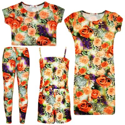 Kids Girls Roses Floral Print Midi Dress Crop Top Legging & Playsuit New Age 7 8 9 10 11 12 13 Years