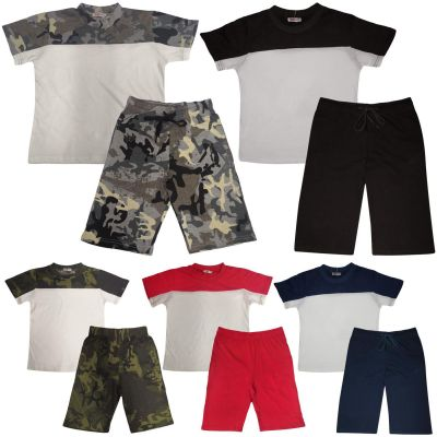 A2Z Trendz Kids Girls Boys Shorts Set 100% Cotton Contrast Panelled Trendy Fashion Summer T Shirt Top And Hot Short Pants Gymwear Outfit Sets New Age 5 6 7 8 9 10 11 12 13 Years