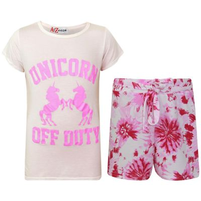 A2Z Trendz Kids Girls Shorts Set Unicorn Off Duty Print Trendy Fashion Summer Outfit Top & Short New Age 7 8 9 10 11 12 13 Years