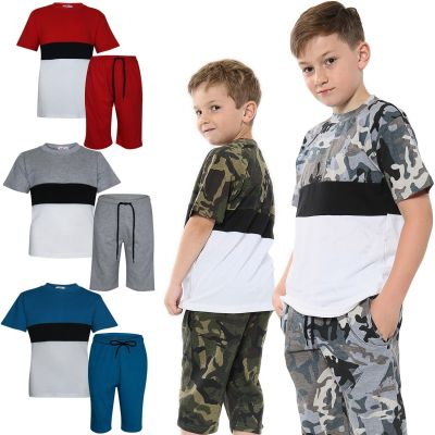 A2Z Trendz Kids Girls Boys Shorts Set 100% Cotton Contrast Panelled Trendy Fashion T Shirt Top & Short Pants Sportswear Gymwear Outfit Clothing Sets New Age 5 6 7 8 9 10 11 12 13 Years