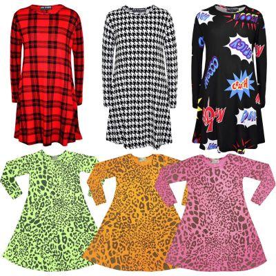 A2Z Trendz Kids Girls Swing Dress Designer's Leopard Print Trendy Fashion Top Skater Dresses 5 6 7 8 9 10 11 12 13 Years