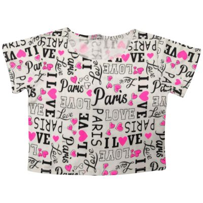 Kids Girls I Love Paris Print Summer T Shirt Crop Top