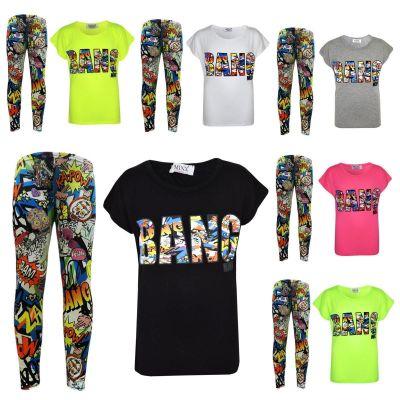 Kids Girls BANG Printed Trendy Top & Fashion Legging Set New Age 7 8 9 10 11 12 13 Years