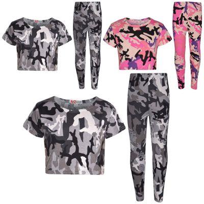 A2Z Trendz Girls Top Kids Designer's Camouflage Print Trendy Crop Top & Fashion Legging Set New Age 7-13 Years