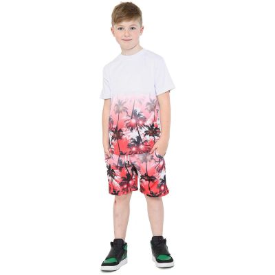 A2Z Trendz Kids Boys T Shirt Shorts Palm Trees 3D Gradient Print Fade Two Tone Tees Fashion Red Top Summer Short Set Age 5 6 7 8 9 10 11 12 13 Years
