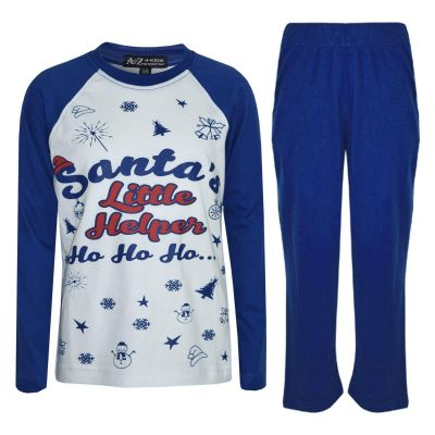 A2Z Trendz Kids Pjs Girls Boys Santas Little Helper Print Stylish Color Cotrast Pajamas Set New Age 5 6 7 8 9 10 11 12 13 Years
