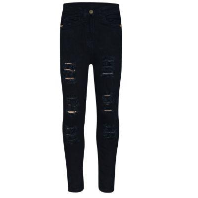 A2Z Trendz Kids Girls Skinny Jeans Designer's Denim Ripped Fashion Stretchy Jeggings Pants Stylish Jet Black Trousers New Age 3 4 5 6 7 8 9 10 11 12 13 14 Years