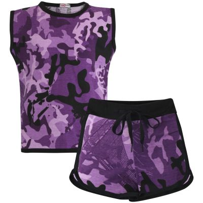 Girls Camouflage Taped Shorts Set