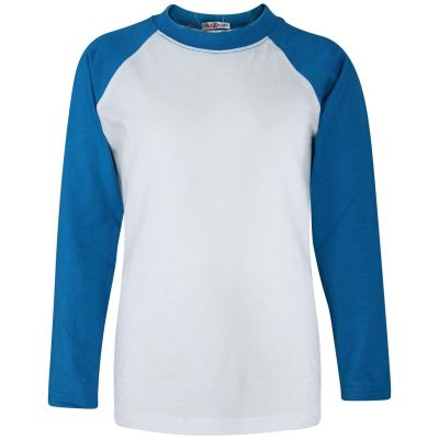A2Z Trendz Kids Boys Girls Blue T Shirts Designer's 100% Cotton Plain Baseball Long Raglan Sleeves Team Sports Tee Soft Feel Casual T-Shirts New Age 2 3 4 5 6 7 8 9 10 11 12 13