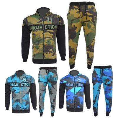 A2Z Trendz Boys Tracksuit Kids HNL Camouflage Hoodie Bottom Jog Suit Joggers Age 7 8 9 10 11 12 13 Years