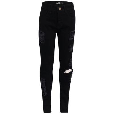 Kids Girls Stretchy Jet Black Denim Jeans Ripped Faded Fashion Skinny Frayed Pants Stylish Trousers.