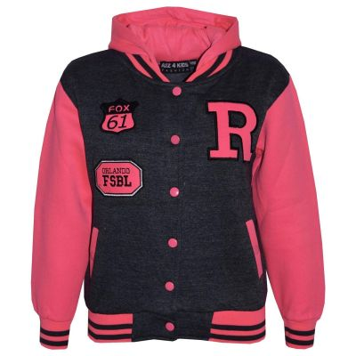 Kids Girls R Fashion Baseball Charcoal & Neon Pink Hooded Jackets Varsity Hoodie