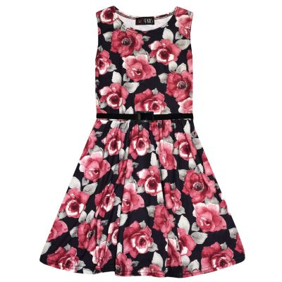 A2Z Trendz Girls Skater Dress Kids Red Roses Print Summer Party Fashion Dresses With A Free Belt New Age 7 8 9 10 11 12 13 Years